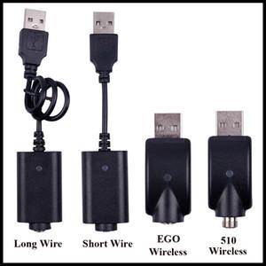 EGO USB-кабель для зарядки Длинный короткий проводной кабель для зарядки 510 EGO EVOD Беспроводной USB-кабель для зарядки аккумуляторов E Cig Cartridge