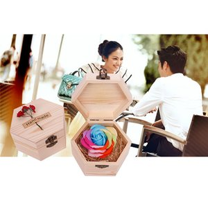 Valentine's Gift Hexagon & Love heart Wooden Box Soap Flower Simulation Colorful Rose Small Wooden Box artificial flowers #3D6
