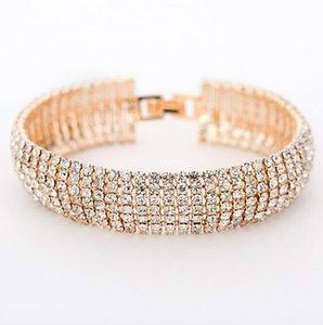 Мода Bling Кристаллы Браслет для невесты Семь Роу Алмазный Стразы Свадебный браслет ювелирных изделий Stretch браслет для женщин
