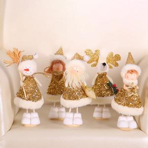 Ciondolo peluche Decorazione albero di Natale Mini Oro Argento Xmas Doll Decoration carino appeso ornamento partito regalo Home Decor DHL WX9-1672