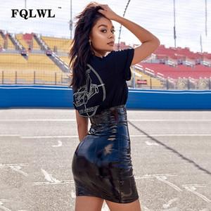 FQLWL Faxu Latex Pu Leather Skirt For Woman Zipper Black High Waisted Pencil Skirts Womens Autumn Wrap Sexy Mini Skirt Female CX200701