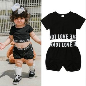 2019 New Toddler Kid Baby Girl Clothes Set Summer Casual Tracksuit Short Sleeve T Shirt Shorts Pant Black Children Baby Clothing