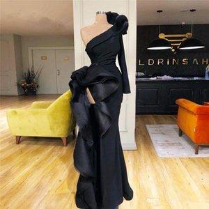 2020 de um ombro Satin Mermaid Evening vestidos de mangas compridas Ruffles alta divisão formal do partido Prom Vestidos Robes De Soirée