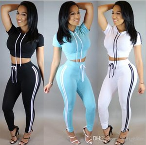 Wholesale Women Two Piece Outfits Pants Set Casual Sports Rompers Jumpsuit Long Pants 2 Piece Set O-Neck Crop Tops Tracksuits Free Shipping