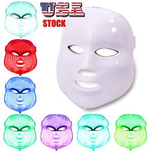 Beauty EUA Stock Saúde 7 Cores Luzes LED PDT Máscara Facial Rosto Cuidados com a pele rejuvenescimento dispositivo portátil Uso Doméstico