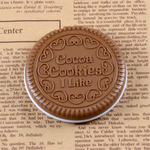 Cacaidas galletas de cacao maquillaje espejo lindo bolsillo portátil plegable plástico plástico herramientas cosméticos redondo compacto vanidad espejos con peine