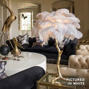 Страусовое перо настольная лампа потолочные светильники украшения золото медь спальня декоры свет гостиная столовая украшения бесплатная доставка