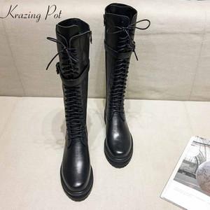 krazing pot laccio di cuoio genuino fino tacco med punta rotonda punk stivali equestri fibbia di fissaggio sopra il ginocchio stivali L35