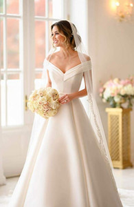 Chapel Castle A Line Wedding Dresses Sweep Train Satin 2019 New Off The Shoulder Wedding Bridal Gowns Plus Size vestidos de novia