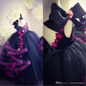 2020 flor púrpura linda chica vestidos para las bodas del arco grande de las flores con cuentas Volver hueco de tul vestido de bola de las muchachas del desfile de los vestidos por encargo