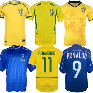 1998 Brasilien-Hauptfußball Jerseys 2002 Brasil klassische Hemden Carlos Romario Ronaldo Ronaldinho Jersey camisa de futebol 1994 Retro BEBETO