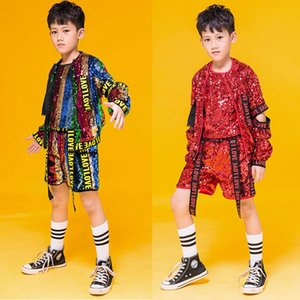 3 PCS Kids Hip Hop Clothing Coat Tops Pants Boys Jazz Dance wear Costumes Kids Drum Stage Ballroom Dancing Clothes Wear