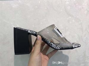 2019 Mujeres transparentes sandalias de tacón medio, tacón alto diapositivas PVC superior con suela de cuero Made in Italy 9 cm / 12 cm