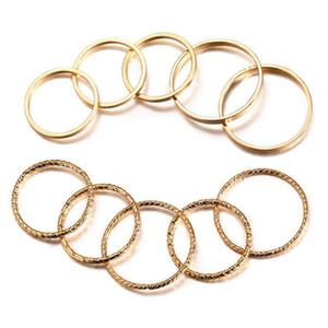 Vintage Gold Farbe Knuckle Ring Set für Frauen Geometrischer Runde Twist-Webart-Finger-Ring 10Pcs / Set weiblichen Mode-Schmuck HZ
