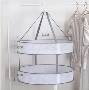 Malha Roupa que pendura Secador Double-Layer dobrável camisola secagem Basket Chuveiro Organizador malha de banho a seco Prático Pouch 61 * 12 * 12CM ZYQ440