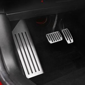 aleación de aluminio del pedal del pie del pedal Para Tesla Model 3 Acelerador de Gas Combustible freno Resto Pedal Pads Mats cubierta Accesorios Car Styling