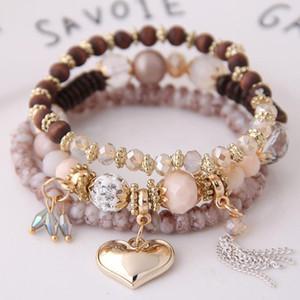 6 цветов богемские Многослойные браслеты для женщин девушки ювелирных изделий 2019 Кристалл бисера Strand браслет шарма сердца Stretch браслет