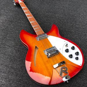 2019 Yüksek kaliteli 12 Dize Elektro Gitar, Ricken 360 Elektro Gitar, Kiraz Burst kırmızı gövde, Gülağacı klavye, ücretsiz kargo