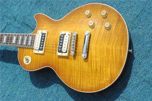 Spedizione gratuita di alta qualità personalizzata tigre flame acero top standard chiaro marrone marrone cinese strumenti elettrici chitarra elettrica
