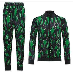 chándales de fútbol de Nigeria de los hombres de la chaqueta verde del cierre relámpago completo de la manga Surtvetement 2021 camisetas de fútbol para adultos juego que activa la formación de la chaqueta de fútbol