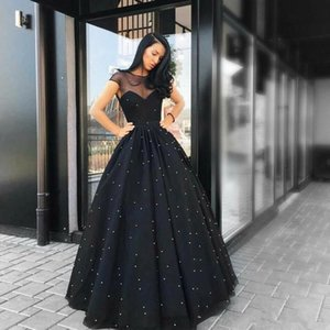 2020 Новый черный вечер платья Sheer Милая шеи короткими рукавами Тюль Длина пола Pearls Линия Платье Пром платья