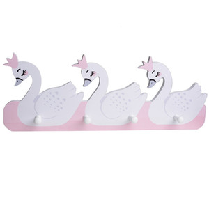 Nordic Lovely Wood Swan Bear and Wall Shelves Wood Wall Hanger Clapboard for Keys Clothes Children Room Decoration