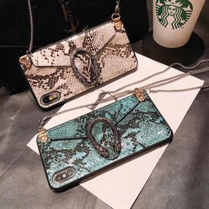 Роскошный телефон дела змея Crossbody мешок бумажник для iPhone 11 Pro Max XS XR 8 7plus с цепочкой талрепом моды задней стороны обложки дизайнер телефон обложки