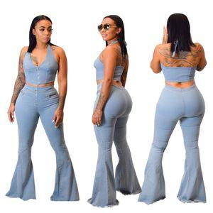 Moda Kadınlar Açık Mavi Yıkanmış Flare Jeans Setleri Seksi Halter Boyun Kolsuz Üst Çan Alt Kot Iki Adet Yeni Gelenler Bahar Aut Suits