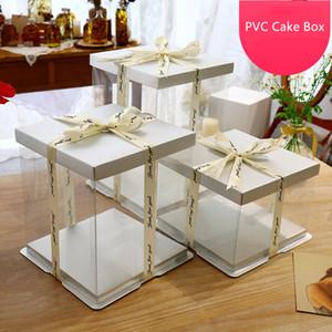 2020 새로운 흰색 판지 투명 케이크 상자 6/8/10/12 인치 PVC 꽃 포장 케이크 컨테이너 박스 멀티 크기 호의