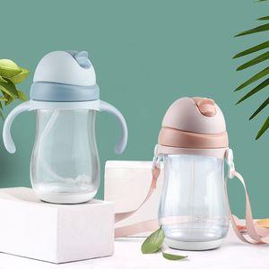 240 / 300ml baby bottle Feeding Cup Silicone BPA Free E Children Learn Feeding Drinking Handle Kids Water Bottles