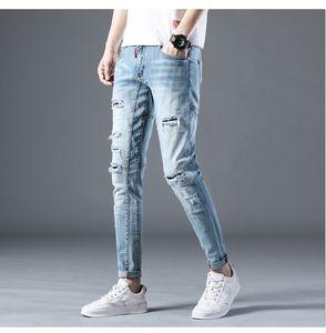 Mens Designer Jeans Moda Zipper Fly Pencil Pants Mens Distrressed jeans stretch Light Blue mediana Long Pants