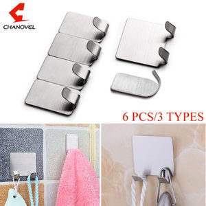 CHANOVEL 304 Stainless Steel Hot Sell 6pcs Adhesive Kitchen Bathroom Wall Door Stainless Steel Stick Hook Hanger