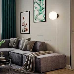 Nordic Luxo Luz LED Lâmpadas de parede Copper Modern Living Room vidro lâmpada de parede criativas luminárias Escadas Sconces