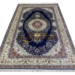 Pura seta blu Oversize orientale Area Tappeto fatto a mano Qomm Grande Tappeto persiano