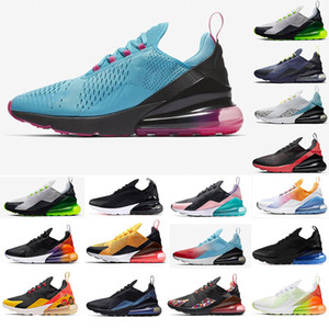 Nike Air max 270 New coussin d'air Chaussures de course de grande taille 36-49 Run Sneakers Triple Noir South Beach Hot punch Hommes Baskets Mode Femmes Chaussures Runner nous 13