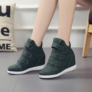 Lucyever Moda Plataforma Zapatos Mujer Botines Cuñas Ocultos Zapatillas Confort Mujer Flock Zapatos Casuales Chaussure Femme