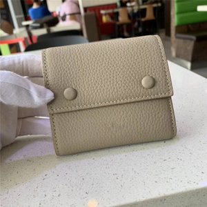 Short three folds lychee cowhide card holder Italian plain weave cowhide with multiple compartments wallet and multiple functions