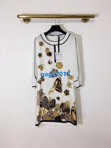 kurzes Hemdkleid Patchwork Blumenschmetterlingsdruck Crew High-End-Frauen Mädchen Hals langen Hülsenrock Vintage Mode-Design-Luxus-Kleider