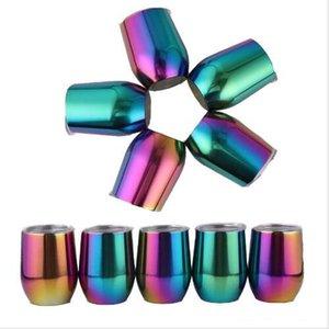 Garrafa uns copos de ovo água de aço inoxidável Tumbler gradiente do arco-íris Copos Lid Canecas isolados a vácuo caneca de cerveja Wine Glasses partido 330ML A5753