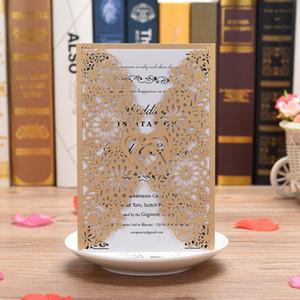 40 piezas Tarjetas de invitaciones de boda de corte láser para cumpleaños Dulce 15 Invitación de fiesta de quinceañera, Invitación de compromiso nupcial de boda