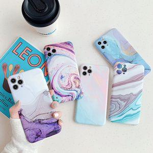 Caja del teléfono para el iPhone SE 2020 11 Pro X XR XS Max 7 8 Plus Moda abstracta de colores de mármol suave mate de IMD para el iPhone 11