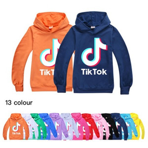 Tik Tok niños de manga larga sudaderas muchacho / Teen Tops chaqueta con capucha niños TikTok la camiseta de la capa del algodón Ropa