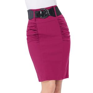 señoras de la oficina faldas de la vaina Para mujer vintage Detalle Shirred espalda dividida Lápiz elástico alto Falda Cinturón ancho faldas elegantes de negocios