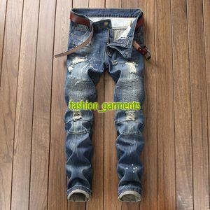 Новая мода Мужские джинсы стилиста Ностальгические Мотоцикл джинсы Брюки прямые патч Hip Hop Trend Личностные Jeans