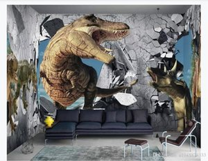 3D wall murals wallpaper custom picture mural wall paper Modern minimalist 3D wall dinosaur children's room background mural decoration