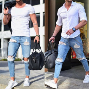 Hirigin Moda Erkek Jeans Erkek Ripped Skinny Biker Jeans Tahrip Yıpranmış Slim Fit Kot Pantolon Biker Jean