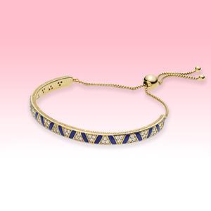 NEW Blue stripe Gold plated Bracelets Women Wedding Jewelry for Pandora 925 Sterling Silver Bracelet with Original box high quality