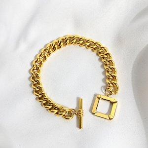 Punk Style Thick Metallic Women Link Chain Bracelet Hot Street Fashion Square Buckle Gold Color Luxury Bracelet Jewelry