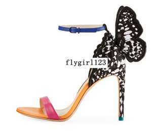 Free Shipping Sophia Webster Ladies Leather Heels, Color Embroidered Butterfly Decoration, Toe Sandals, Size: 34-42,black and white