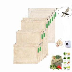 Sebze Meyve Izgara Çanta Saf Renk Çevre Alışveriş Çantaları Ev Depolama Mutfak Organizasyonu WY341 Çantalar İpli